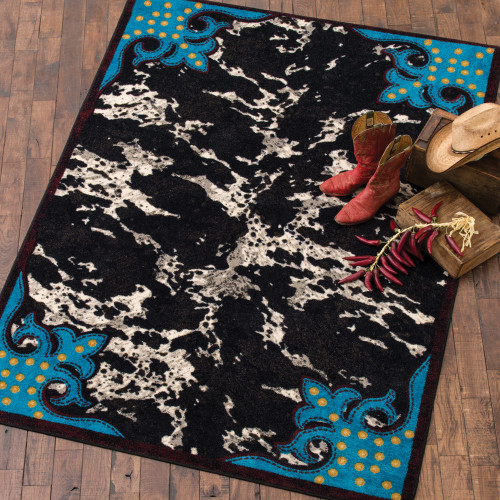 Turquoise & Cowhide Rug Collection