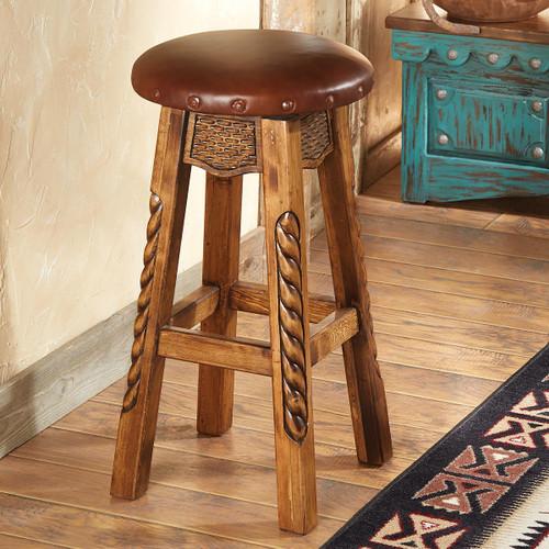 Carved Wood Roper Bar Stool