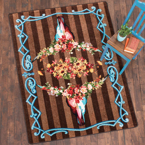 Steer Head Blossom Rug Collection