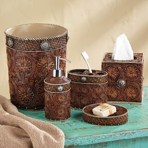 Western Tooled Leather Bath Accessories