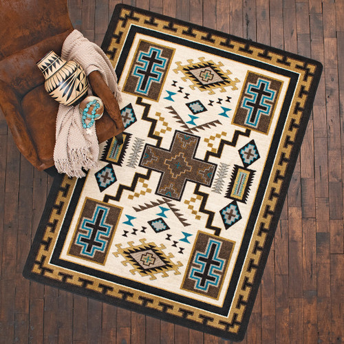 Double Cross Blue Rug Collection