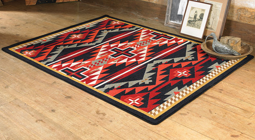 Rustic Cross Black Southwestern Rug Collection