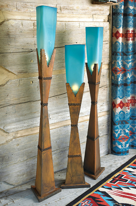 Turquoise Glass Floor Lamps