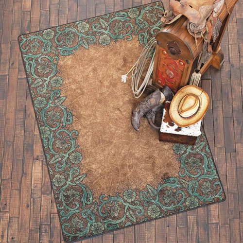 Tooled Turquoise Rug Collection