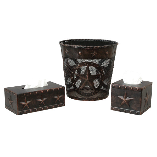 Stars & Studs Metal Waste Basket and Tissue Boxes