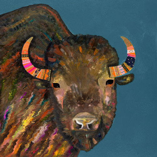 Chic Buffalo Blue Canvas Art