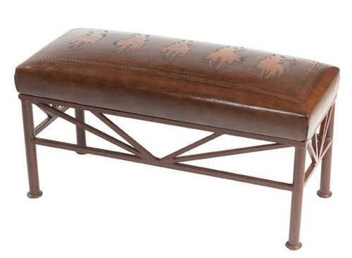 Tooled Leather Bench