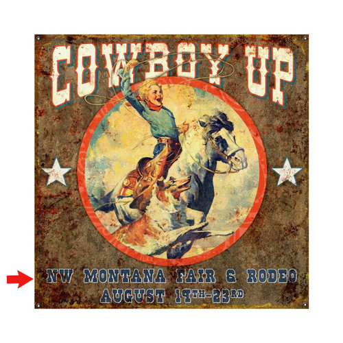 Cowboy Up Personalized Sign - 18 x 18