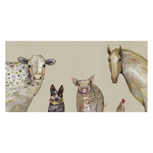 Farm Animals Taupe Canvas Art