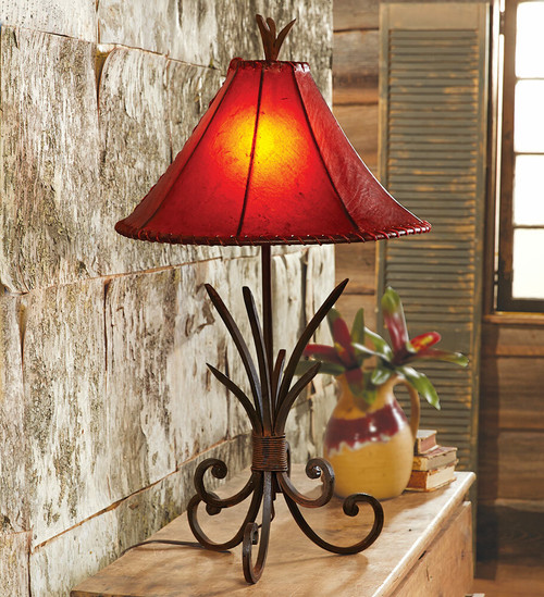 Iron Agave Table Lamp with Rawhide Shade