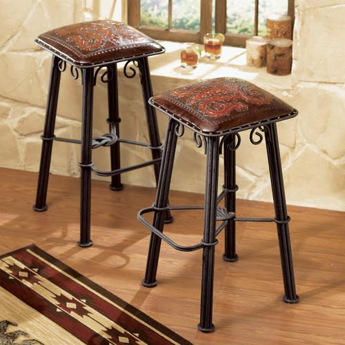 Iron Barstool Tooled Leather Seat - Set of 2