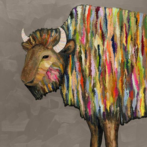 Kaleidoscope Bison Taupe Canvas Art