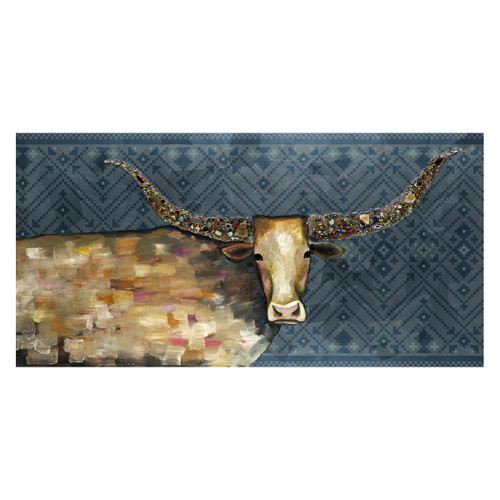 Kaleidoscope Longhorn Tribal Blue Canvas Art