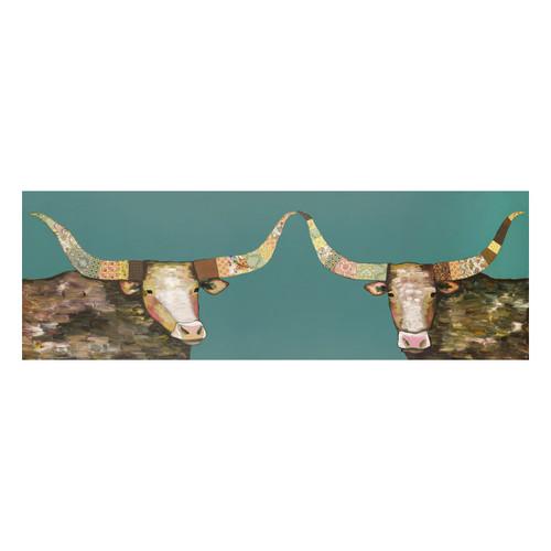 Longhorn Couple Teal Canvas Art