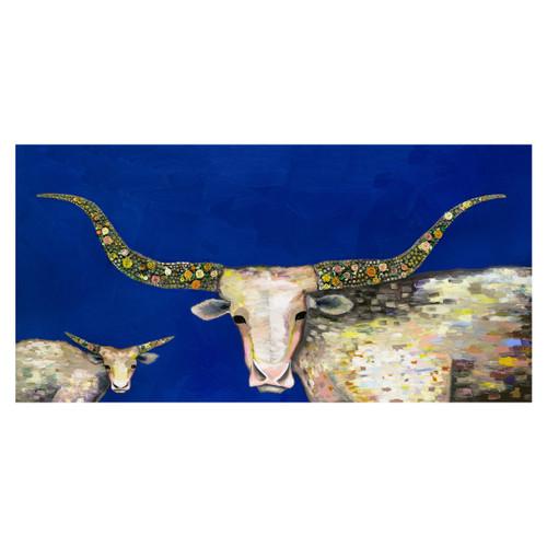 Longhorn Steer and Calf Blue Canvas Art