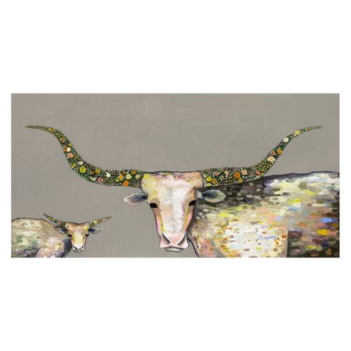 Longhorn Steer and Calf Taupe Canvas Art