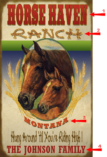 Horse Haven Ranch Sign - 14 x 24