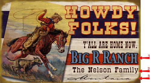 Howdy Horizontal Sign - 18 x 30