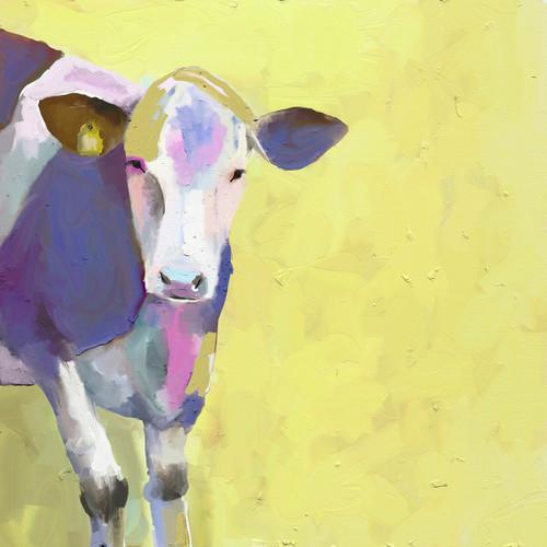 Pastel Cow Canvas Art