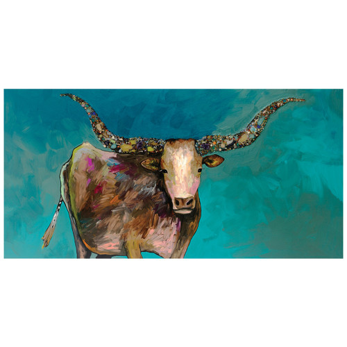 Prismatic Longhorn Turquoise Canvas Art