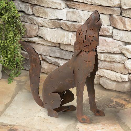 Howling Coyote Metal Sculpture - Medium