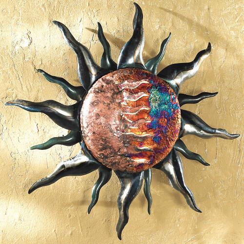 Copper Dripped Sun Metal Wall Art