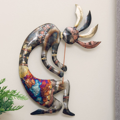 Copper Dripped Kokopelli Metal Wall Art - Extra Large
