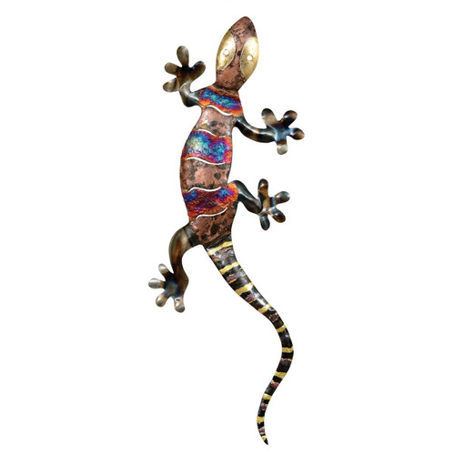Copper Dripped Gecko Metal Wall Art - Extra Large - OUT OF STOCK