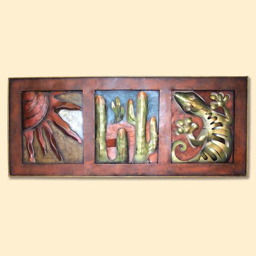 Sun, Cactus and Gecko Frame Metal Wall Art