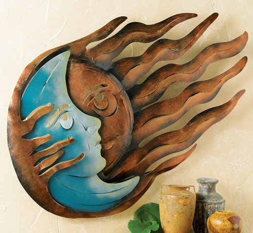 Eclipse with Rays Metal Wall Art