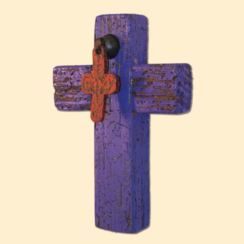 Reclaimed Purple Wood Cross with Iron Cross Pull