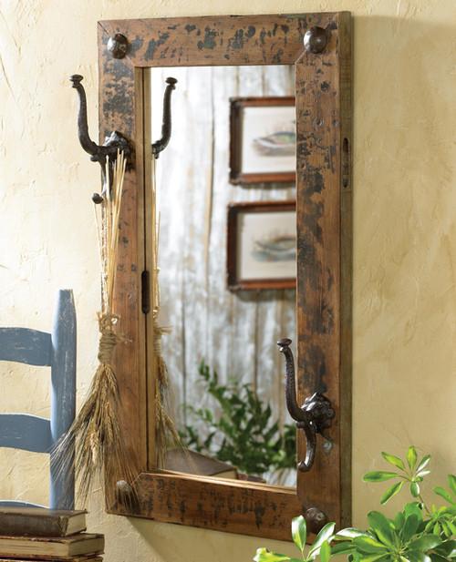 Antiqued Mirror w/ Hooks