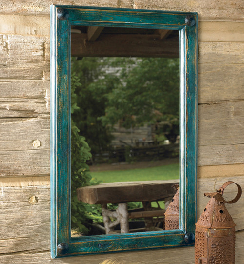 Painted Turquoise Mirror