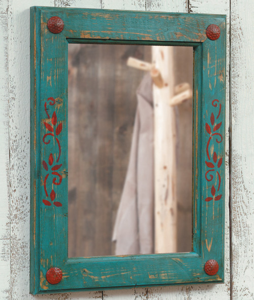 Turquoise and Red Mirror