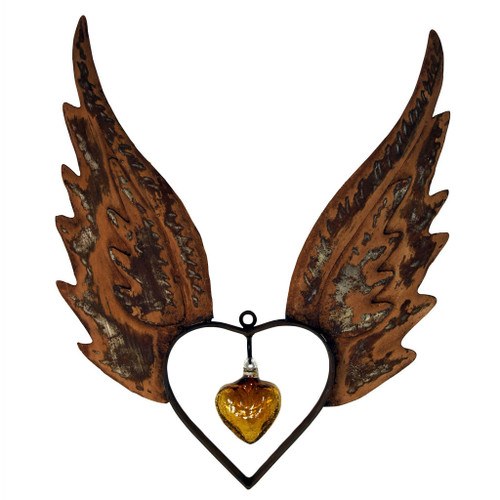 Angel Wings Up Heart with Crackled Amber Heart