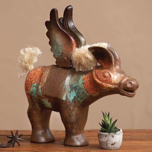 Angelic Clay Donkey Statue
