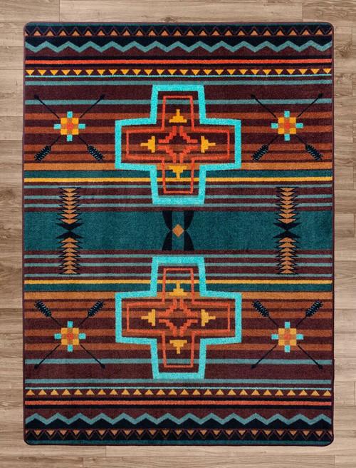 Arrow Path Blue Rug - 8 x 11