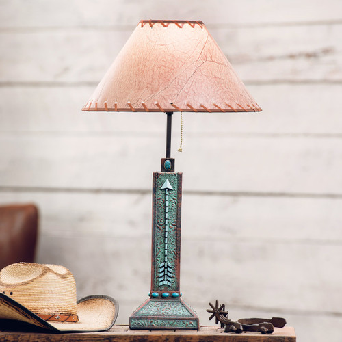 Arrow Turquoise Flowers Lamp - BACKORDERED UNTIL 1/7/2022