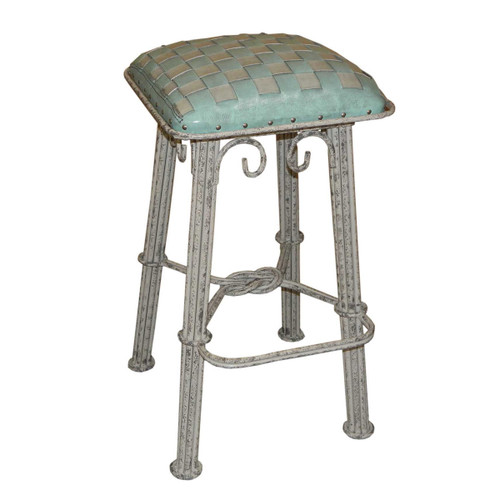 Western Iron Counterstool, Ash Turquoise Braided Leather, Ash Grey Iron