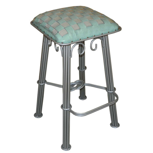 Western Iron Counterstool, Ash Turquoise Braided Leather, Silver Iron