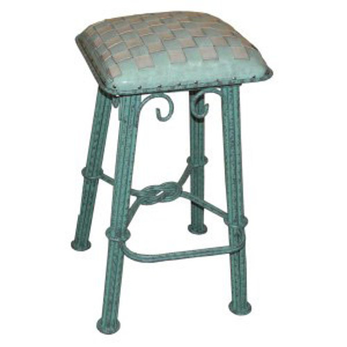 Western Iron Counterstool, Ash Turquoise Braided Leather, Turquoise Iron
