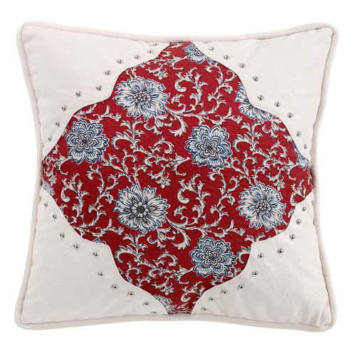 Bandana Floral Pillow with Scalloped Corners