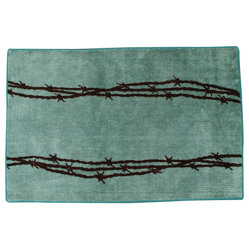 Barbed Wire Turquoise Bath Rug
