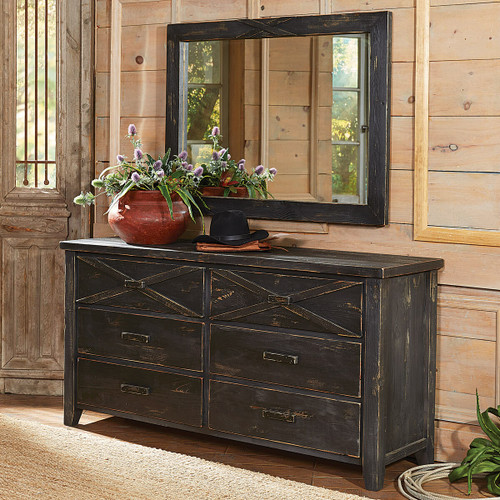 Barnwood Double X Dresser and Mirror