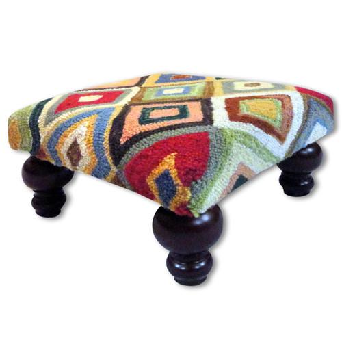 Bert Hooked Wool Footstool
