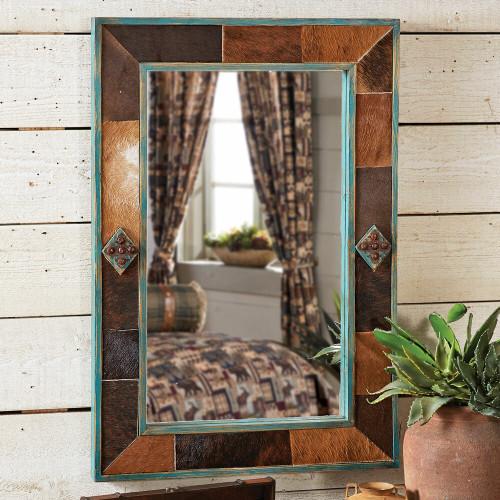Bighorn Cowhide & Turquoise Mirror