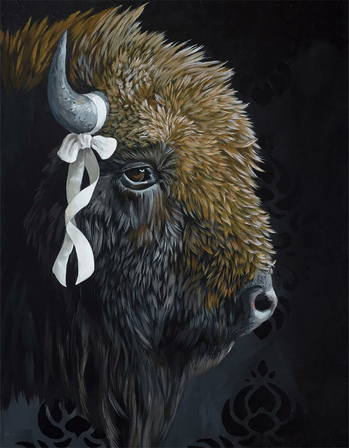 Bison with Ribbon Canvas Wall Art