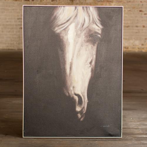 Black and White Horse Portrait Framed Canvas