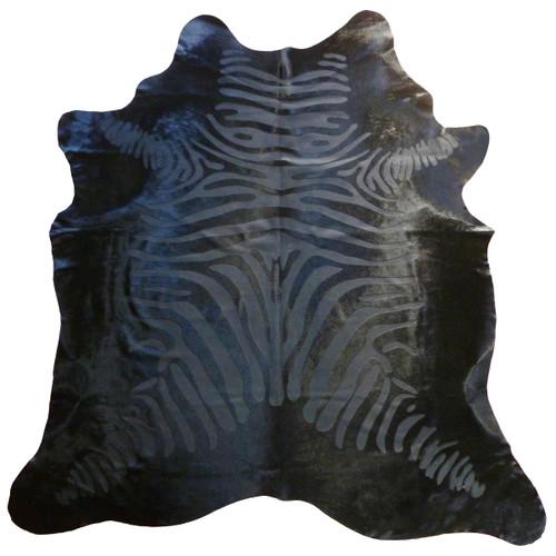 Black Etched Zebra on Black Cowhide - Standard