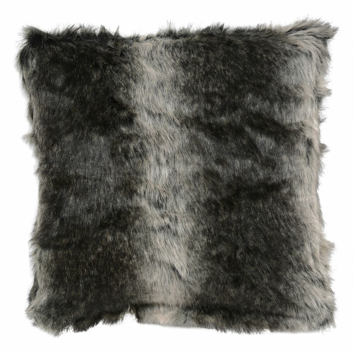 Black Wolf Faux Fur Pillow